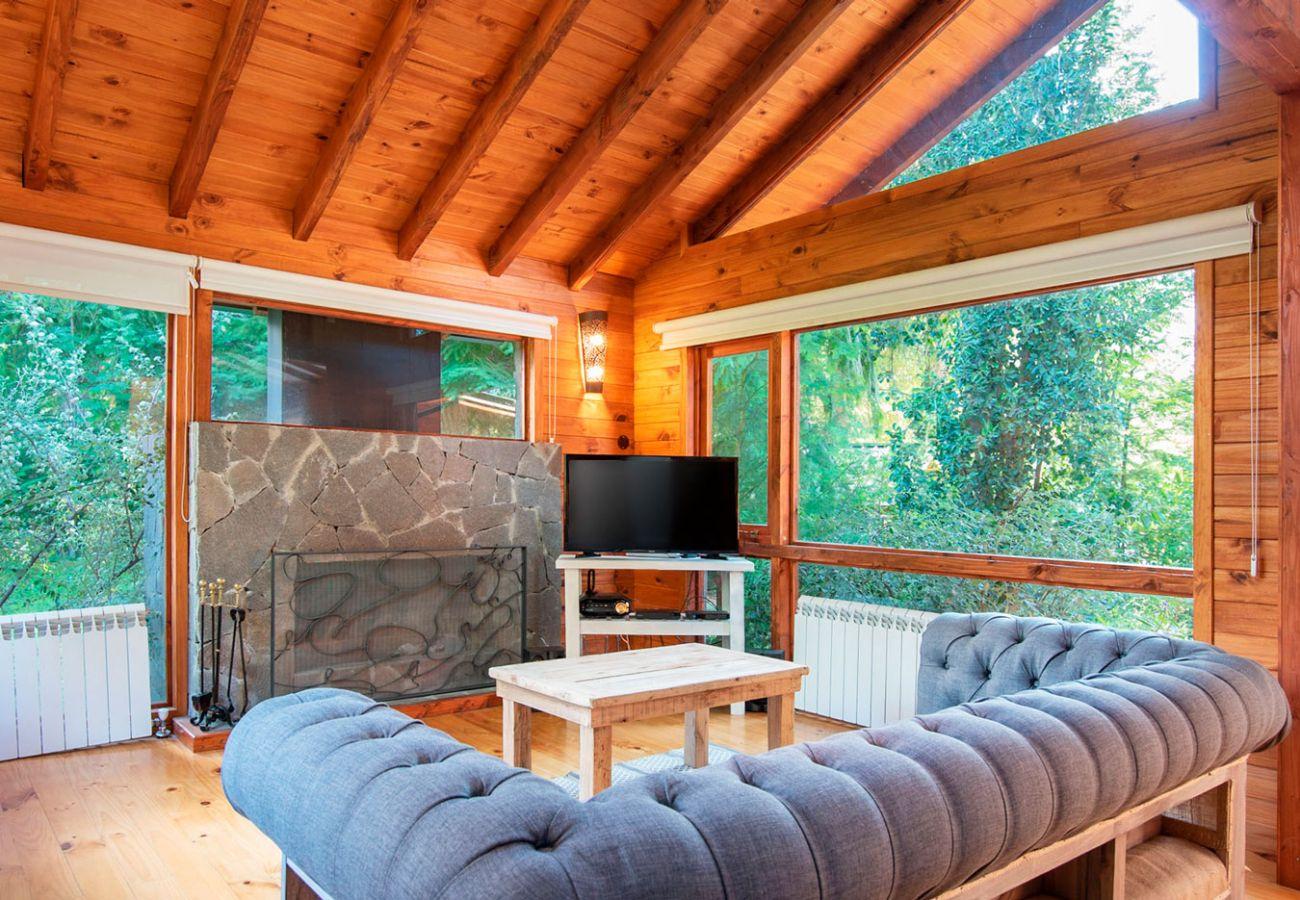 Calido living con hogar a leña BOG Sulla Montagna Villa La Angostura