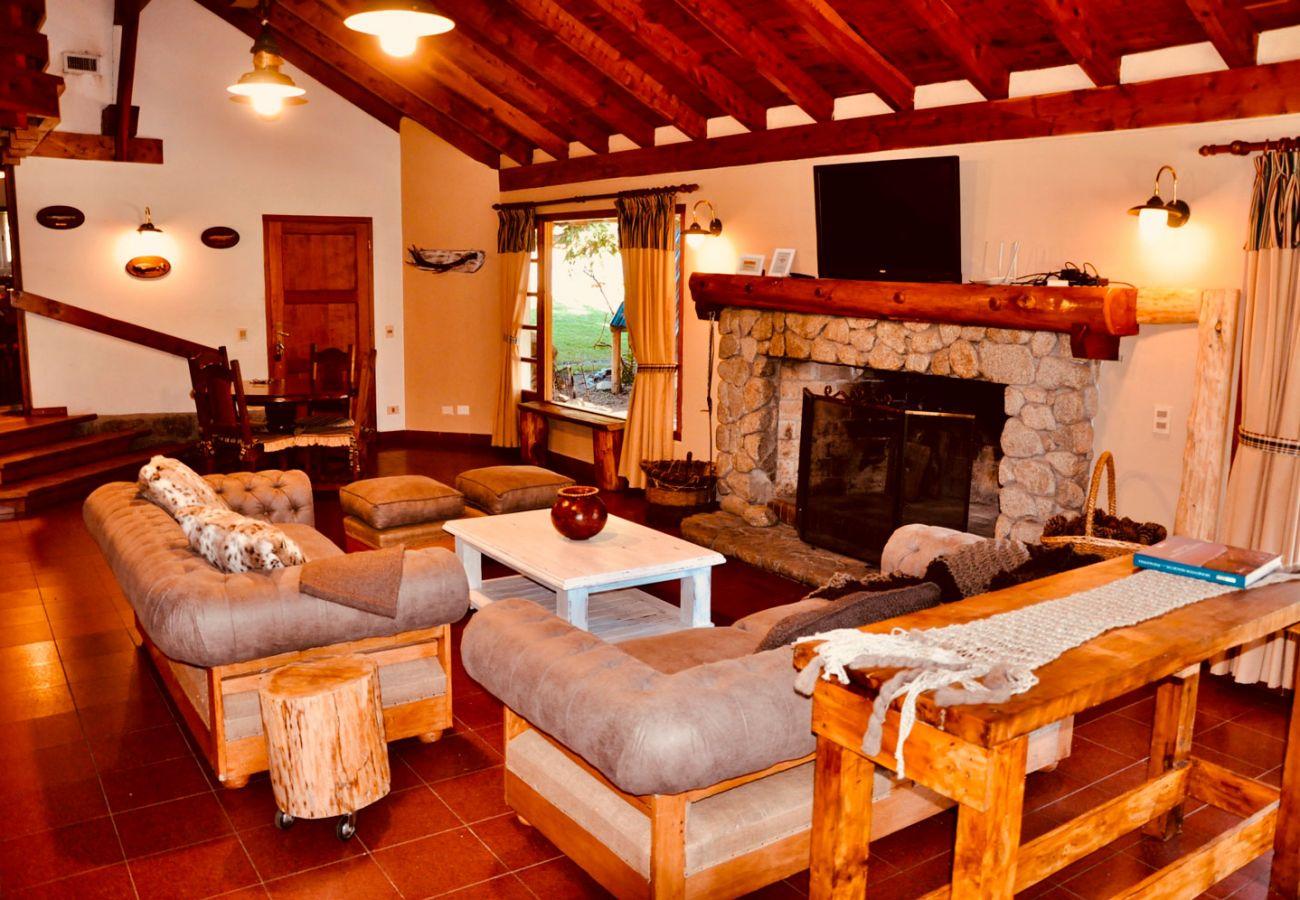 Living con hogar de piedra BOG Pichi Ruca Villa La Angostura